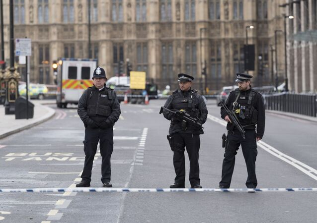 Funkcjonariusze policji niedaleko od budynku brytyjskiego parlamentu