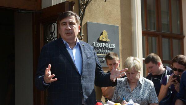 Były prezydent Gruzji, były gubernator obwodu odeskiego Michaił Saakaszwili podczas konferencji prasowej we Lwowie - Sputnik Polska
