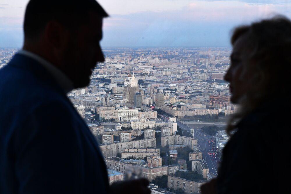 """Widok z 89 piętra Wieży Federacja Wschód centrum biznesowego """"Moskwa-City"""", gdzie budowana jest najwyższa platforma widokowa w Europie"""