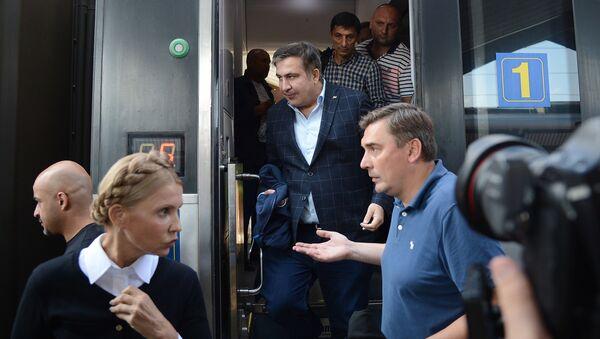 Michaił Saakaszwili na dworcu klejowym w Przemyślu - Sputnik Polska