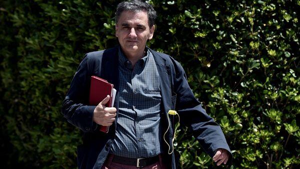 Minister finansów Grecji Euclidis Tsakalotos w Atenach - Sputnik Polska