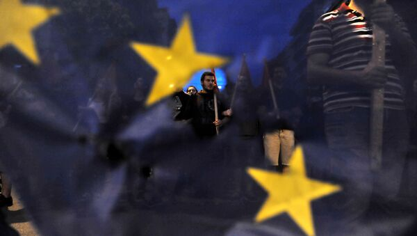 Protestujący w Grecji - Sputnik Polska