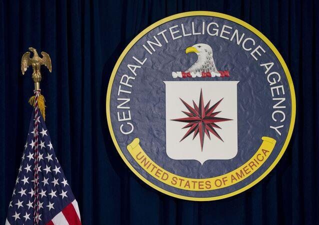 Emblemat CIA i amerykańska flaga