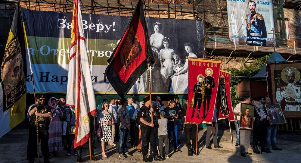 Prawoławna demonstracja przeciwko pokazowi filmu Matylda w Moskwie