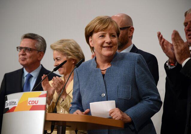 Kanclerz Niemiec, lider Unii Chrześcijańsko-Demokratycznej Angela Merkel podczas wyborów parlamentarnych w Berlinie
