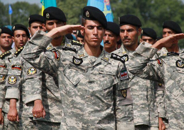 Irańska jednostka na ceremonii otwarcia międzynarodowego konkursu Pluton Desantowy na poligonie wojskowym Rajewski pod Noworosyjskiem.