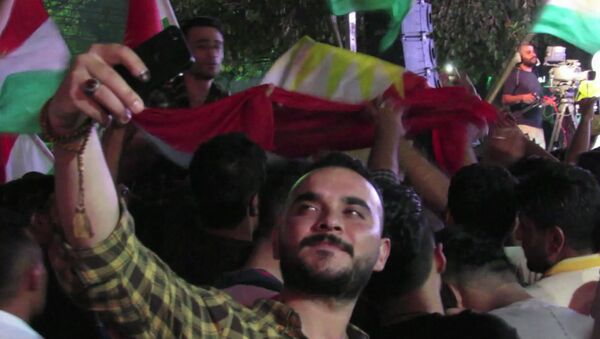Kurdowie uczcili w Irbilu  przeprowadzenie referendum ws. niepodleglości Irackiego Kurdystanu. - Sputnik Polska