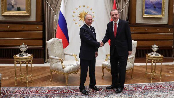Prezydent Rosji Władimir Putin i prezydent Turcji Recep Tayyip Erdogan podczas spotkania w Ankarze - Sputnik Polska