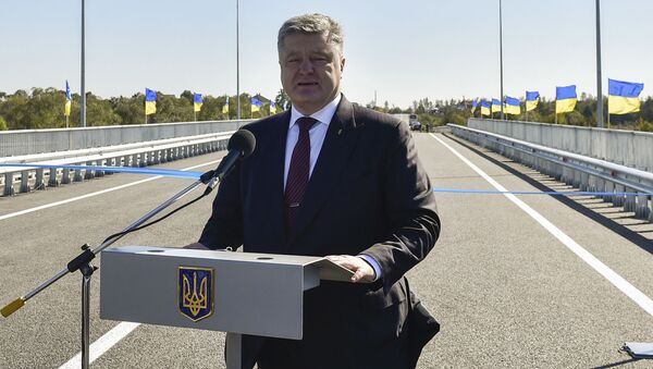 Prezydent Ukrainy Petro Poroszenko w czasie wizytacji obwodu iwano-frankowskiego - Sputnik Polska