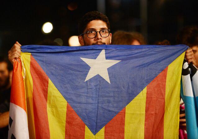 Uczestnik referendum w sprawie niepodległości Katalonii