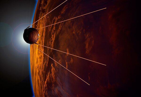 Wizualizacja z okazji 50-lecia wystrzelenia satelity Ziemi - Sputnik Polska