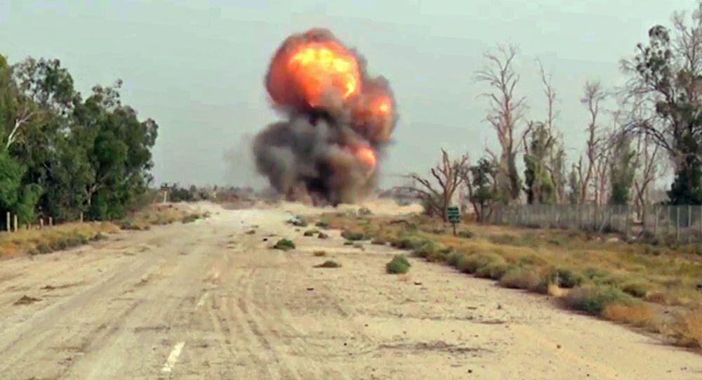Likwidacja amunicji znalezionej przez specjalistów Międzynarodowego Ośrodka Przeciwminowego Sił Zbrojnych Rosji