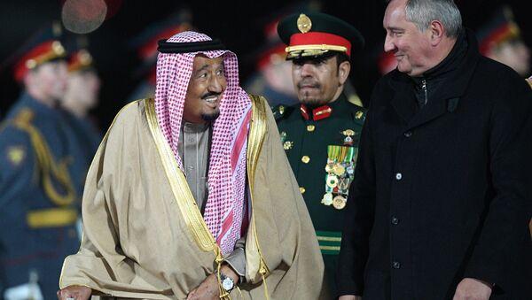 Król Arabii Saudyjskiej Salman ibn Abd al-Aziz Al Su'ud i wicepremier Rosji Dmitrij Rogozin - Sputnik Polska