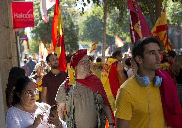 Akcja poparcia dla jedności Hiszpanii w Barcelonie
