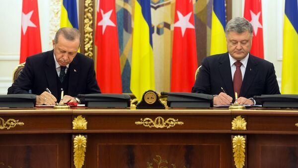Prezydent Turcji Recep Tayyip Erdogan i prezydent Ukrainy Petro Poroszenko w czasie spotkania w Kijowie - Sputnik Polska