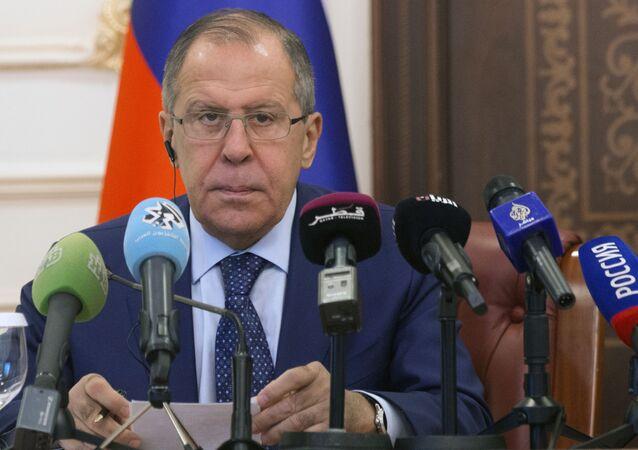 Minister spraw zagranicznych Rosji Siergiej Ławrow na konferencji prasowej. Zdjęcie archiwalne