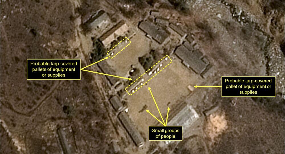 Zdjęcie satelitarne północnokoreańskiego poligonu jądrowego Punggye-ri