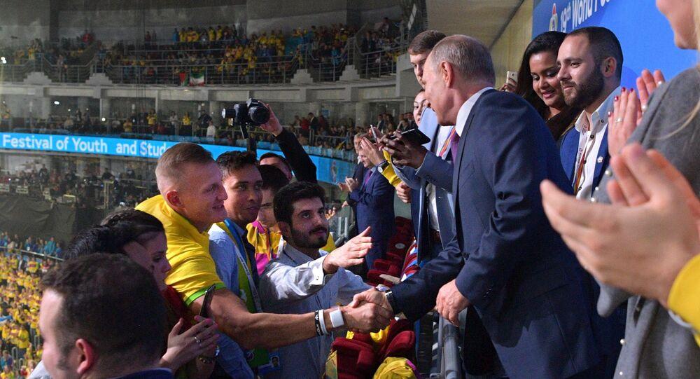Władimir Putin na otwarciu Światowego Festiwalu Młodzieży i Studentów