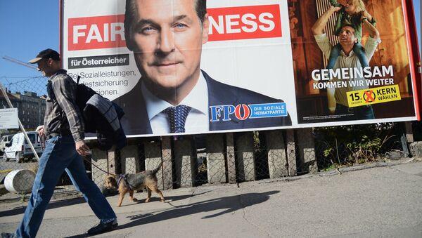 Plakat agitacyjny prawicowo-nacjonalistycznej Wolnościowej Partia Austrii - Sputnik Polska