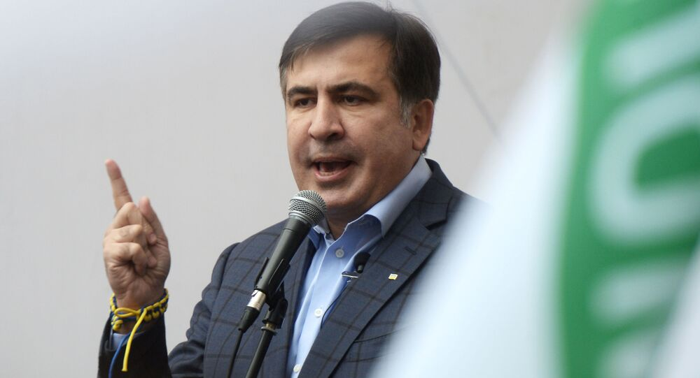 Były prezydent Gruzji, były gubernator obwodu odeskiego Micheil Saakaszwili występuje na akcji poparcia dla reformy politycznej w Kijowie
