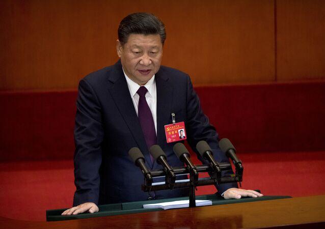 Sekretarz generalny Komitetu Centralnego Komunistycznej Partii Chin Xi Jinping przemawia podczas otwarcia 19. zjazdu partii w Pekinie