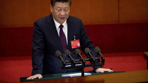 Sekretarz generalny Komitetu Centralnego Komunistycznej Partii Chin Xi Jinping przemawia podczas otwarcia 19. zjazdu partii w Pekinie - Sputnik Polska