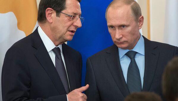 Władimir Putin i prezydent Cypru Nikos Anastasiadis - Sputnik Polska