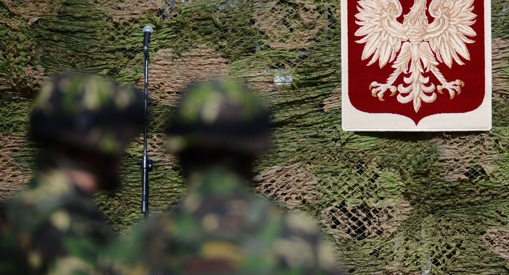 Żołnierze z polskim godłem w tle