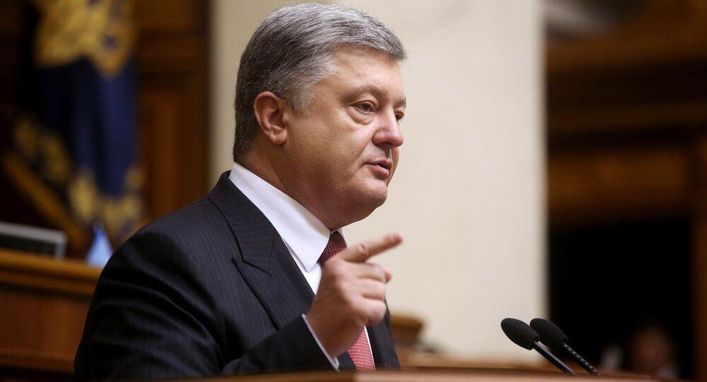 Prezydent Ukrainy Petro Poroszenko w czasie przemówienia na posiedzeniu Rady Najwyższej