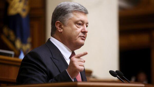 Prezydent Ukrainy Petro Poroszenko w czasie przemówienia na posiedzeniu Rady Najwyższej - Sputnik Polska
