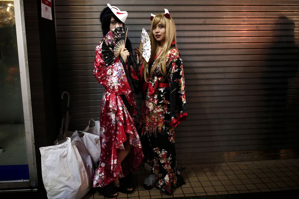 Uczestniczki parady z okazji Halloween w Japonii