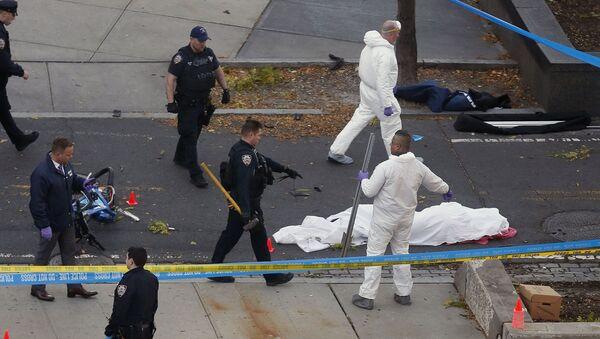 Policja i śledczy na miejscu ataku terrorystycznego w Nowym Jorku - Sputnik Polska