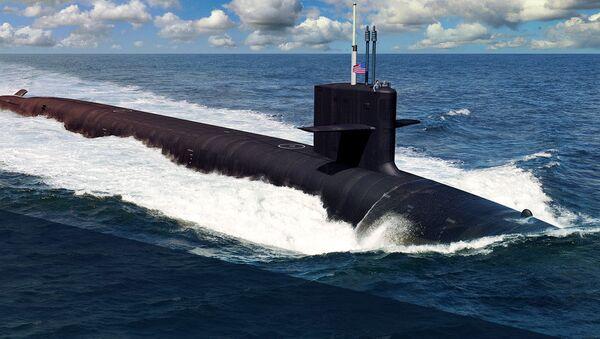 """Artystyczny obraz amerykańskiego okrętu podwodnego typu """"Columbia"""" - Sputnik Polska"""
