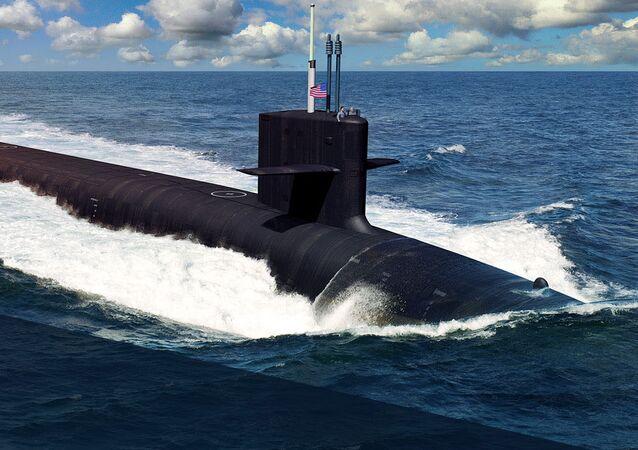 """Artystyczny obraz amerykańskiego okrętu podwodnego typu """"Columbia"""""""