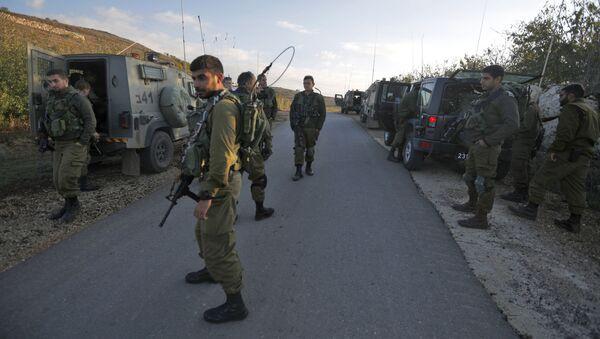 Izraelscy żołnierze w rejonie Wzgórz Golan na granicy z Syrią - Sputnik Polska