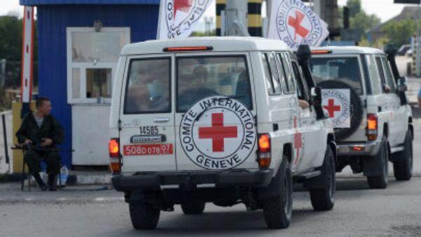 Samochody Czerwonego Krzyża eskortujące konwój z pomocą humanitarną dla mieszkańców południowo-wschodniej Ukrainy - Sputnik Polska