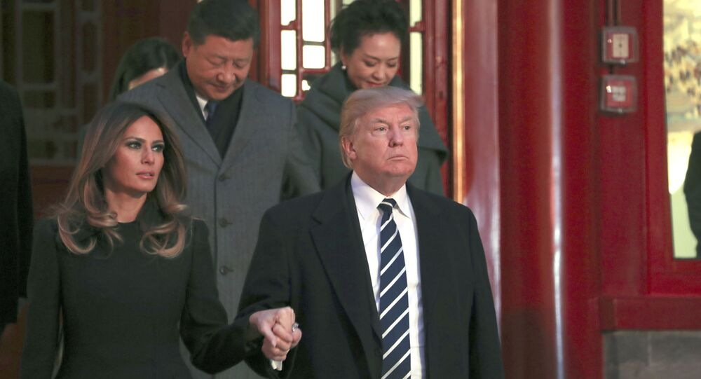 Donald Trump z żoną Melanią w Pekinie
