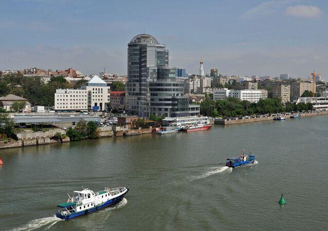 Widok na centrum biznesowe na brzegu Donu w Rostowie nad Donem