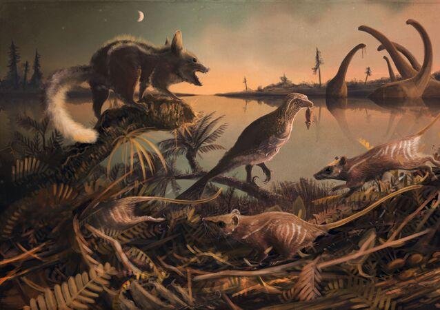 Twórcze przedstawienie starodawnych ssaków, które żyły na terytorium Anglii 145 mln lat temu
