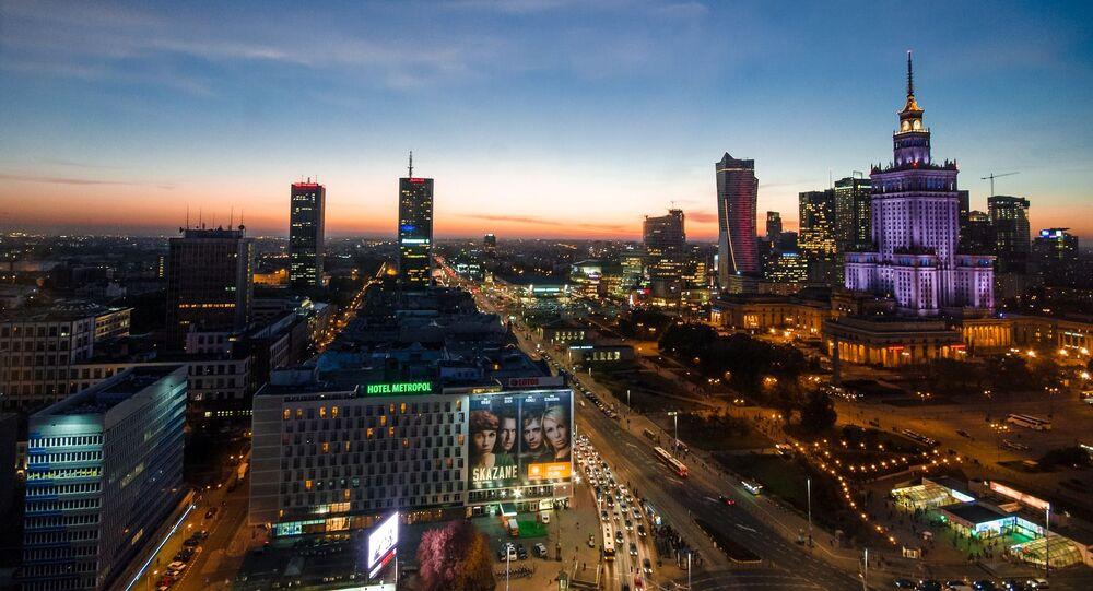 Widok na Warszawę porą wieczorową