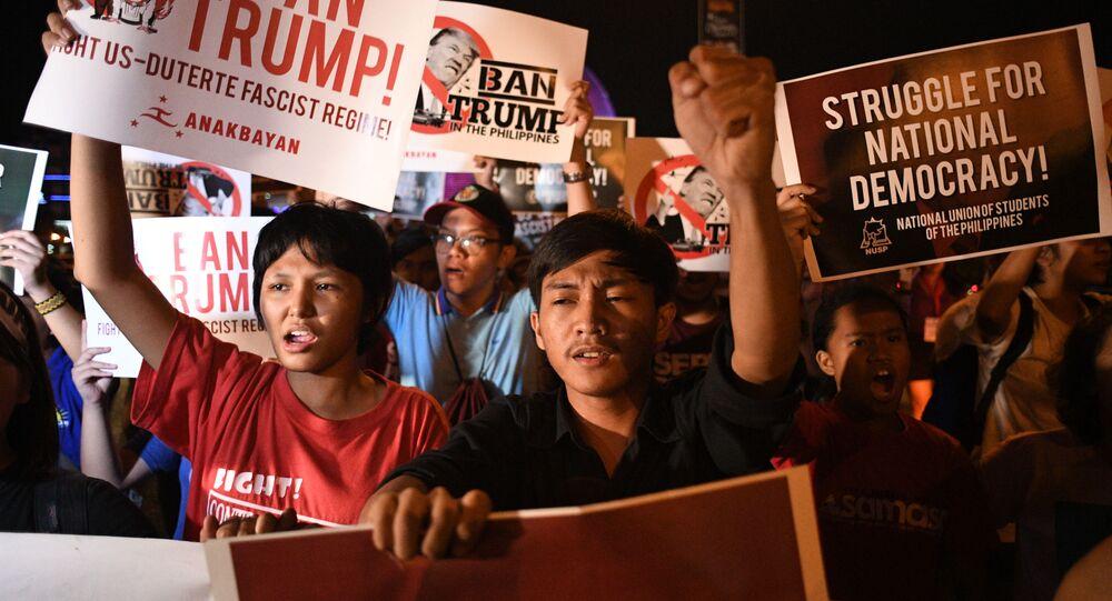 Antyamerykańskie protesty na Filipinach przed wizytą Donalda Trumpa