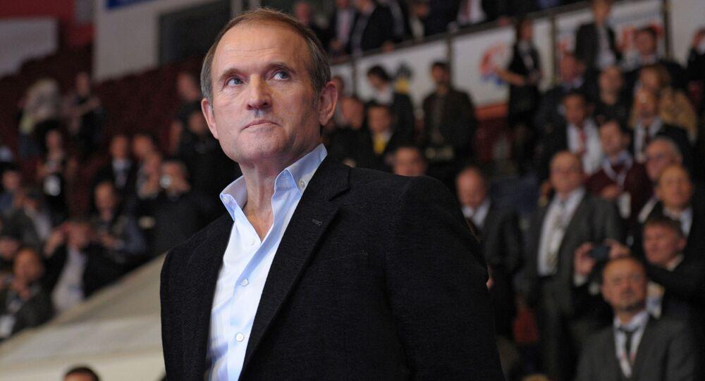 Były szef sztabu prezydenta Ukrainy Wiktor Miedwiedczuk podczas ceremonii otwarcia 37. Mistrzostw Świata w Sambo w Petersburgu