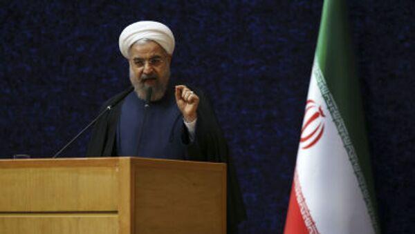 Prezydent Iranu Hassan Rouhani na ceremonii Narodowego Dnia Jądrowego Technologii w Teheranie  - Sputnik Polska