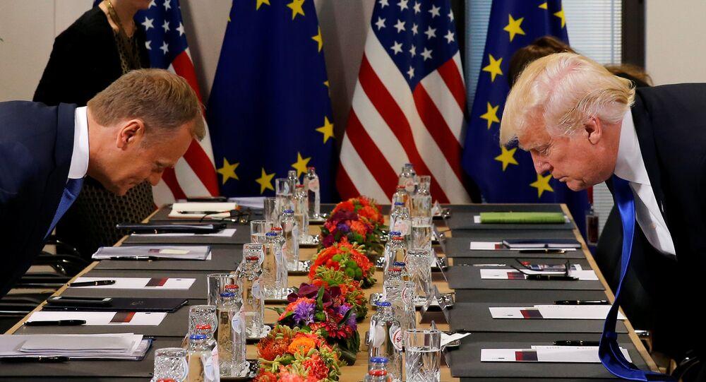 Donald Trump i Donald Tusk. Bruksela, 25 maja 2017.