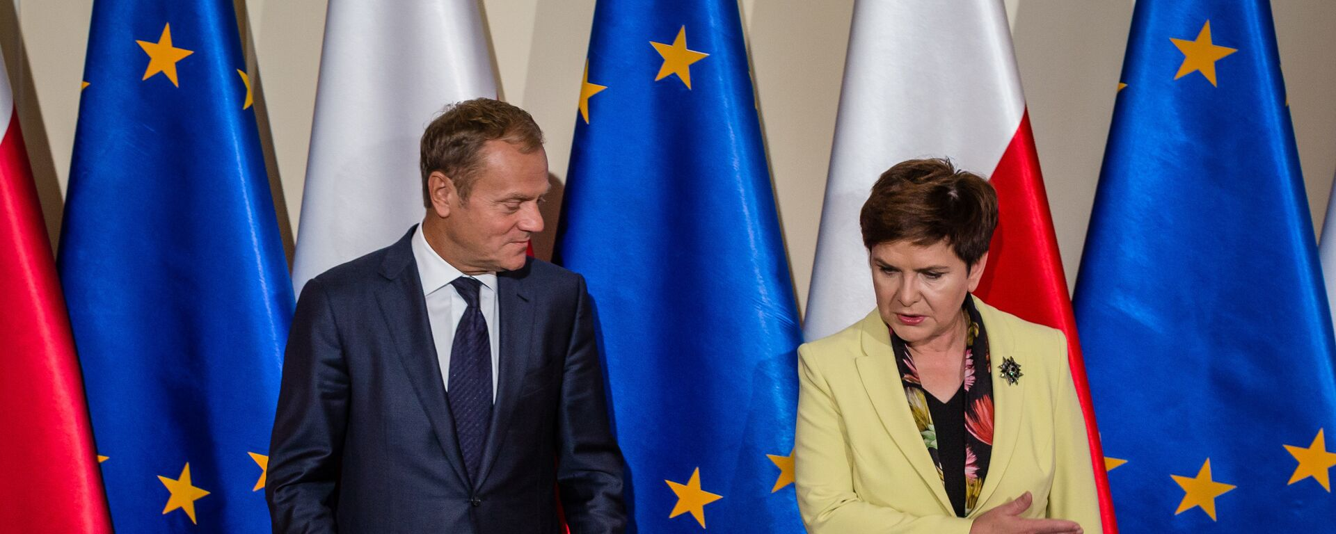 Przewodniczący Rady Europejskiej Donald Tusk i premier RP Beata Szydło - Sputnik Polska, 1920, 03.07.2021