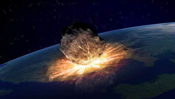 Ilustracja upadku asteroidy na Ziemię - Sputnik Polska