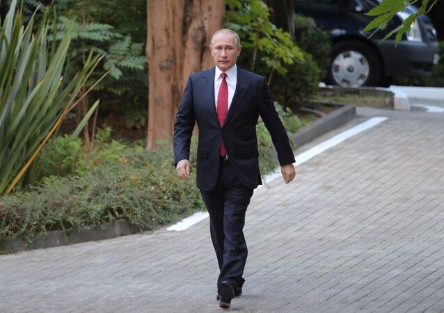 Władimir Putin przed rozpoczęciem spotkania z prezydentami Iranu i Turcji