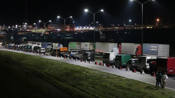 Obywatele Ukrainy na międzynarodowym punkcie granicznym na polsko-ukraińskiej granicy - Sputnik Polska
