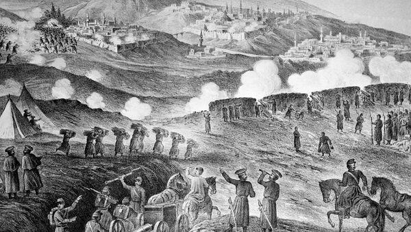 """Reprodukcja litografii z 1877 roku """"Oblężenie tureckiej twierdzy Kars"""" - Sputnik Polska"""