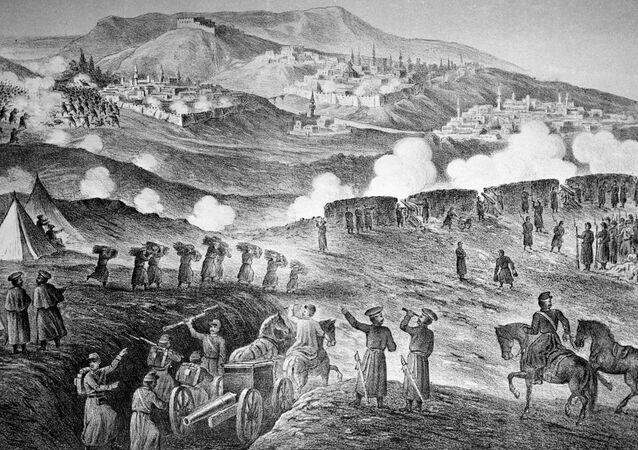 """Reprodukcja litografii z 1877 roku """"Oblężenie tureckiej twierdzy Kars"""""""